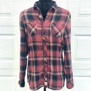 Flannel button up top size medium
